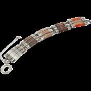 Victorian Scottish Banded Agate Engraved Bracelet 1880's
