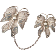 Vintage Sterling Navajo Stamped Butterfly Pin Set Brooch