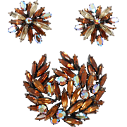 Flashy Fun Large Vintage Regency Brooch & Earrings Set