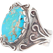 Gorgeous Signed Turquoise Silver Cuff Bracelet Coleman