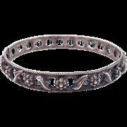 Art Nouveau Pierced Repousse Silver Bangle Bracelet Floral