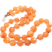 Antique Faceted Carnelian Banded Agate Beads Knotted