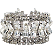 Wide Flashy Vintage Rhinestone Bracelet 1.5 Inches