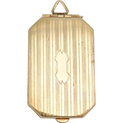 Classy Art Deco Engraved Rectangular Locket Gold Filled