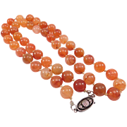 Chinese Carnelian Beads Silver Bats Clasp 11mm