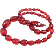 Antique Strand Faceted Cherry Amber Bakelite Beads Necklace