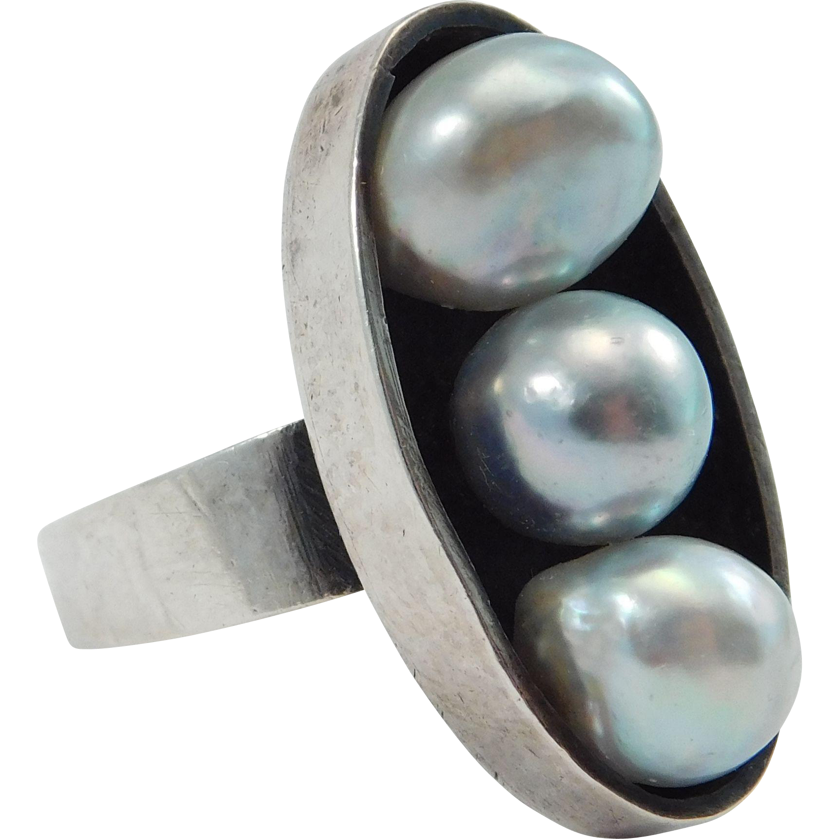 mid century modern silver grey baroque cultured pearls
