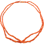 Victorian Double Strand Salmon Coral Barrel Beads 14K Clasp