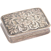 Georgian Silver Vinaigrette Box Joseph Willmore Engraved