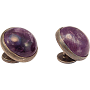 Old William Spratling Amethyst Cabochon Silver Cufflinks