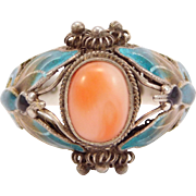 Sterling Coral & Enamel Filigree Chinese Ring With Butterflies