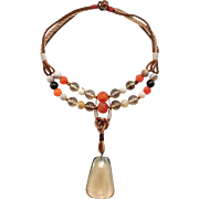 Artisan Agate Bead & Smoky Quartz With Carnelian Necklace