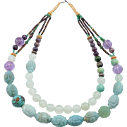 Unique Beaded Chinese Turquoise Amethyst & Carved Aventurine Necklace