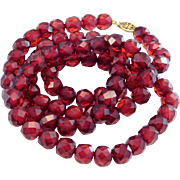 Antique Faceted Cherry Amber Bakelite Beads Necklace