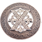 Victorian Engraved Celtic Or Scottish Design Brooch