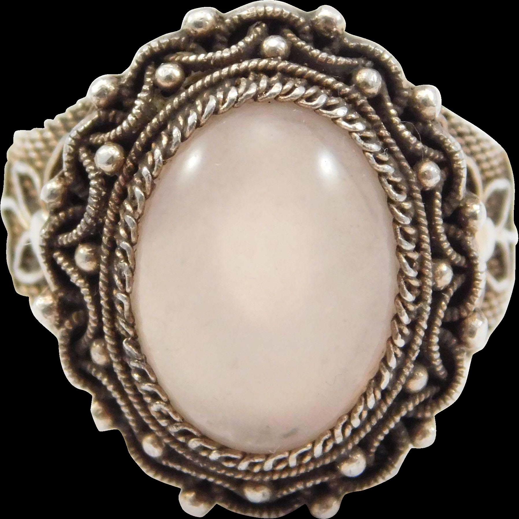 quartz silver filigree ring pretty from