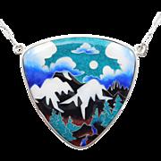 Incredible Artisan Cloisonne Enamel Silver Necklace
