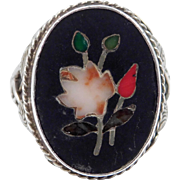 Antique Pietra Dura Mosaic Silver Ring Lovely
