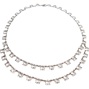 Sterling Art Deco Open Backed Two Tiered Crystal Necklace