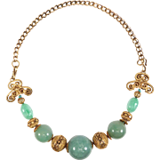 Amazing Qing Dynasty Silver & Large Jade Bead Necklace
