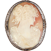 Antique Edwardian Shell Cameo Silver Filigree Bezel Oversize