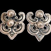 Unusual Los Castillo Taxco Silver Moveable Earrings