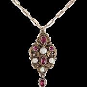 Antique Austro Hungarian Rhodolite Garnet Silver & Pearl Pendant