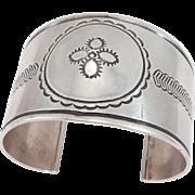 Rare Silver 1940'S Navajo Arts & Crafts Guild Cuff Bracelet