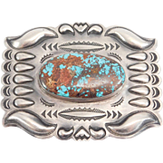 Stanley Parker Navajo Pilot Mountain Turquoise Silver Buckle