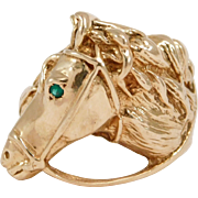 Estate Ornate Horse Equestrian Ring 10K With Emerald Eye