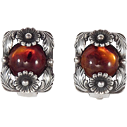 N.E. From Amber Silver Earrings Denmark Vintage