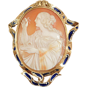 Incredible 14K Enamel Oversize Carved Shell Victorian Cameo Brooch