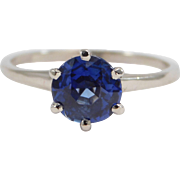 Antique 1.4 Carat Natural Sapphire Solitaire Ring 14K