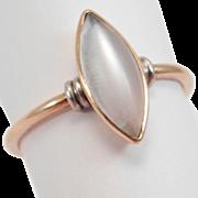 Art Deco 14K Marquis Moonstone Ring Multi Color Gold Beautiful