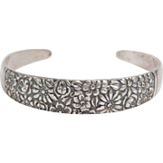 Sterling Ornate Floral Cuff Bracelet Contessina Pattern Towle