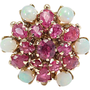 10K Natural Rubies & Opals Princess Ring Estate Piece