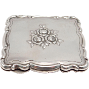 Large Antique Ornately Engraved Repousse Floral Italian Silver Compact