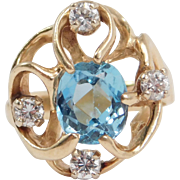 14K Modernist Freeform Blue Topaz And Diamonds Ring