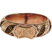 Georgian Memorial Woven Hair Ring 10K Rose Gold Engraved