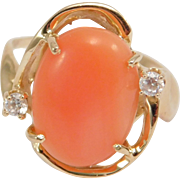 14K Salmon Coral & Diamonds Estate Ring Modernist