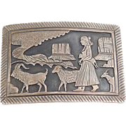 Sterling Signed Southwest Scenic Shadowbox Buckle