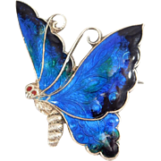 1919 C&H English Enamel Butterfly Brooch Elegant Silver