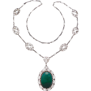 Beautiful Deco Sterling Chrysoprase Filigree Necklace