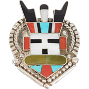 Zuni Signed Ar Silver Inlay Antelope Kachina Very Nice Work Brooch
