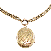 Victorian Gold Filled Engraved Locket & Bookchain 1880'S