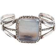 Harvey Era Silver Navajo Petrified Wood Cuff Bracelet