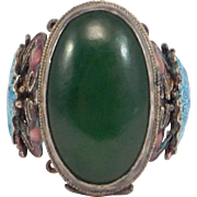 Old Chinese Silver Jade Filigree & Cloisonne Enamel Poison Ring