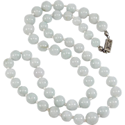 Knotted 8.5 mm Natural Jade Beads Pale Green Filigree Clasp