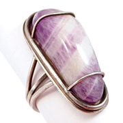 Artisan Modernist Signed Amethyst Silver Ring