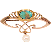 Arts & Crafts 9Ct Gold Amazonite & Pearl Brooch